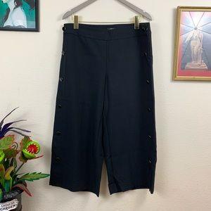 EUC LOFT Wide Leg Side-Button Crop Pants Culottes